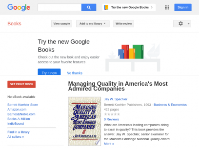 Managing Quality in America's Most Admired Companies - Jay W. Spechler - Google Books