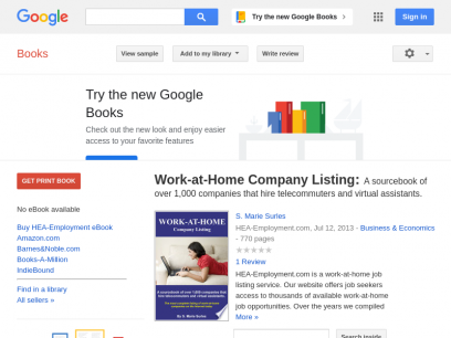 Work-at-Home Company Listing: A sourcebook of over 1,000 companies that hire ... - S. Marie Surles - Google Books
