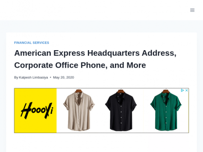 American Express Headquarters Address, and Corporate Office Phone