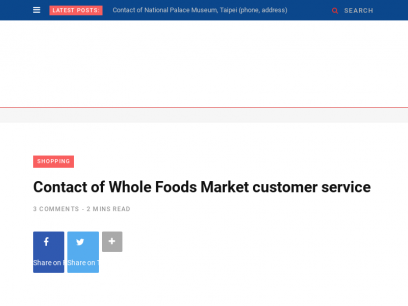 Contact of Whole Foods Market customer service