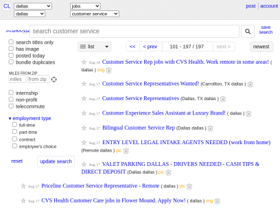 dallas customer service jobs - craigslist