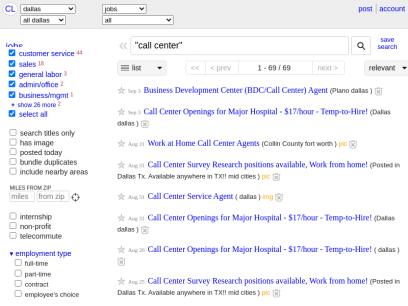 """dallas jobs """"call center"""" - craigslist"""