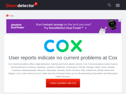 Cox outage or service down? Current problems and outages | Downdetector