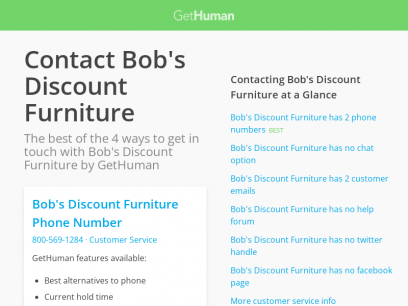 Contact Bob's Discount Furniture | Fastest, No Wait Time