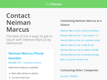 Contact Neiman Marcus | Fastest, No Wait Time