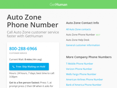 Auto Zone Phone Number | Call Now & Skip the Wait