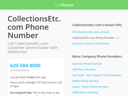 CollectionsEtc.com Phone Number | Call Now & Shortcut to Rep