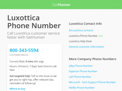 Luxottica Phone Number | Call Now & Shortcut to Rep