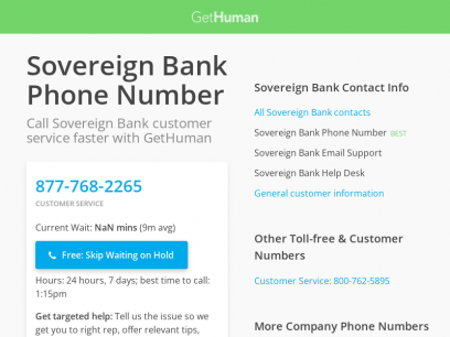 Sovereign Bank Phone Number   Call Now & Skip the Wait