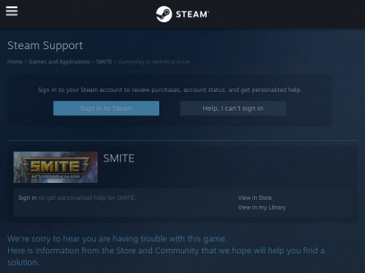 Steam Support - SMITE - Gameplay or technical issue