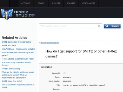 Support - How do I get support for SMITE or other Hi-Rez games?