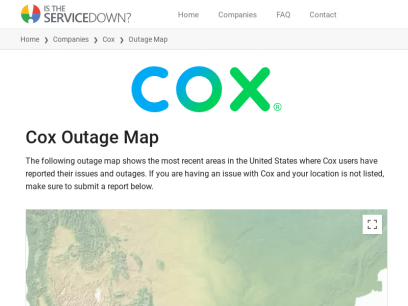 Cox Outage Map • Is The Service Down?