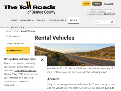 Rental Vehicles | The Toll Roads