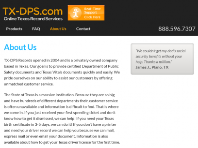 About Us | TX-DPS.com