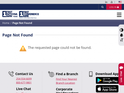 Page Not Found   First National Bank Texas - First Convenience Bank