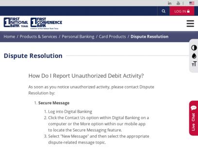 Dispute Resolution   First National Bank Texas - First Convenience Bank