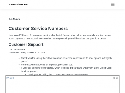 T.J.Maxx Phone Number - Customer Service - 800