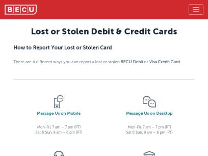 Lost or Stolen Cards | BECU