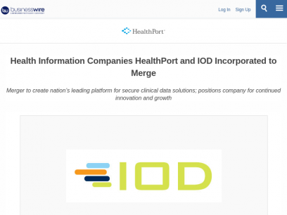 Health Information Companies HealthPort and IOD Incorporated to Merge | Business Wire