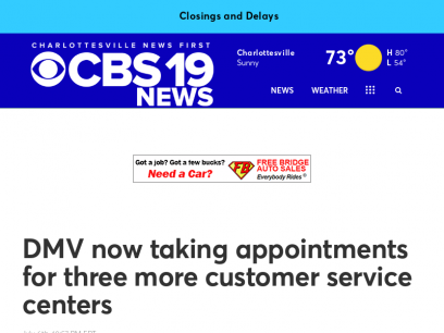 DMV now taking appointments for three more customer service centers -