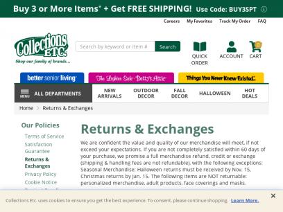 Returns & Exchanges | Collections Etc.