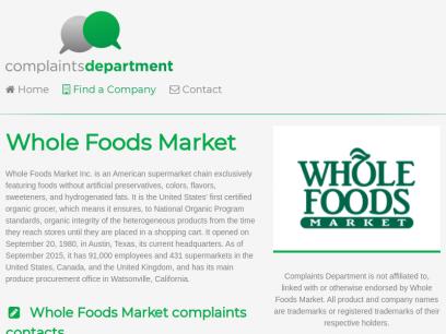 Whole Foods Market Complaints