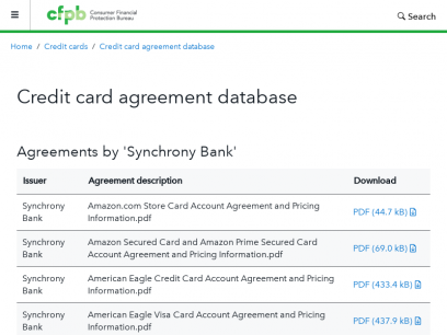 Credit card agreement database search result   Consumer Financial Protection Bureau