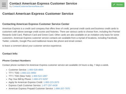 Contact American Express Customer Service: Email, Phone Number & Fax