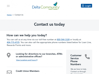 Contact Us   Banking, Checking, Loans, Investments - Delta Community Credit Union