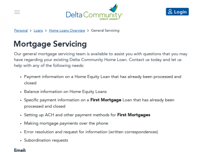 Mortgage Servicing - Delta Community Credit Union