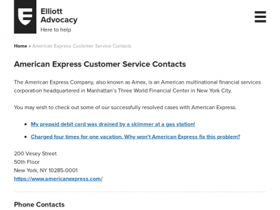 American Express Customer Service Contacts - Elliott Advocacy