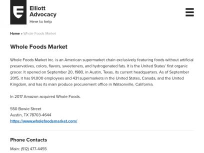 Whole Foods Market - Elliott Advocacy