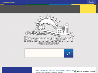 Child Support Resources and Telephone Numbers   Fayette County, PA
