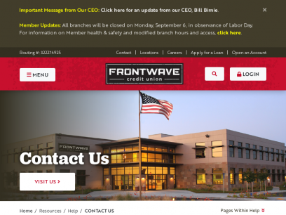 Contact Us | Contact Information | CA Credit Union | Frontwave CU