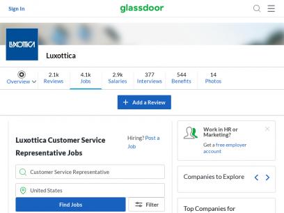 Luxottica Customer Service Representative Jobs | Glassdoor