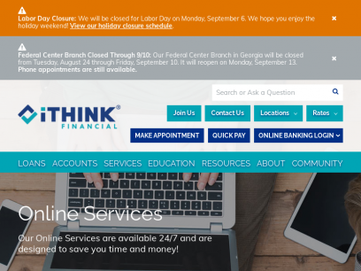 24/7 Online Banking Services   Credit Union   iTHINK Financial