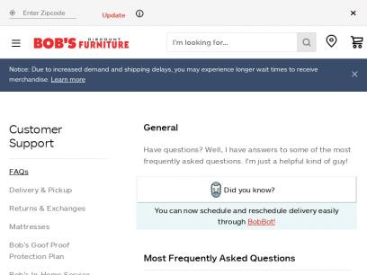 Customer Care FAQ | Bob's Discount Furniture