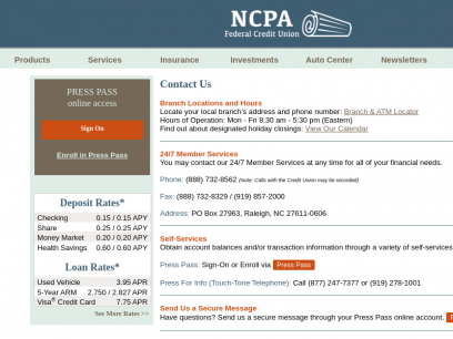 NCPAFCU Contact Us