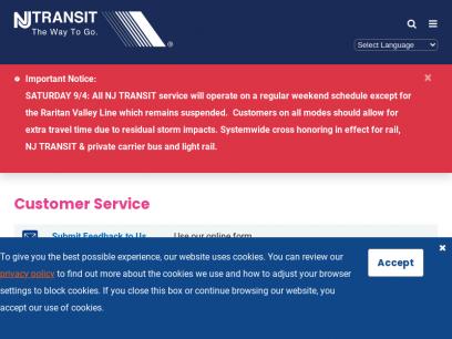 Customer Service | NJ TRANSIT | New Jersey Transit Corporation | New Jersey