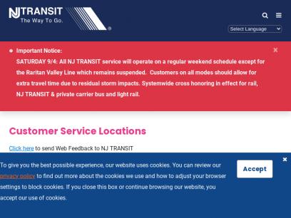 Customer Service Locations | NJ TRANSIT | New Jersey Transit Corporation | New Jersey