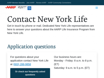 Contact the AARP Life Insurance Program from New York Life