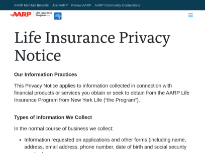 The AARP Life Insurance Program from New York Life: Customer Privacy