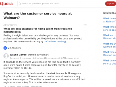 What are the customer service hours at Walmart? - Quora