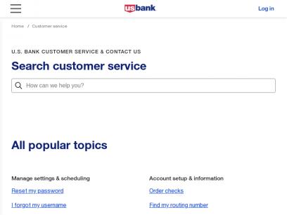 Customer service   Online banking assistance    U.S. Bank