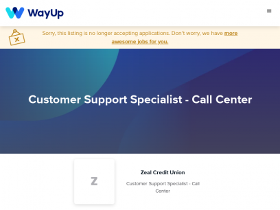 Zeal Credit Union: Customer Support Specialist - Call Center   WayUp
