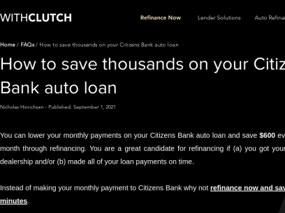 How to save thousands on your Citizens Bank auto loan | WithClutch.com