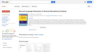 Second Language Interaction in Diverse Educational Contexts