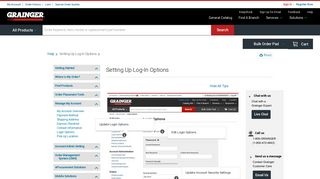Setting Up Log-In Options - Grainger Industrial Supply
