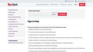 Sign In Help - TaxAct