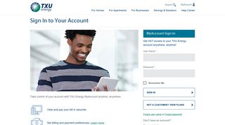Sign In to Your Account  TXU Energy